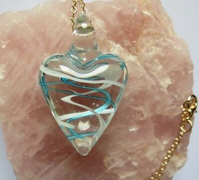 New ~ Handmade Blue and White Swirl Glass Heart Necklace in an Organza Pouch Blue Glass Heart Necklace