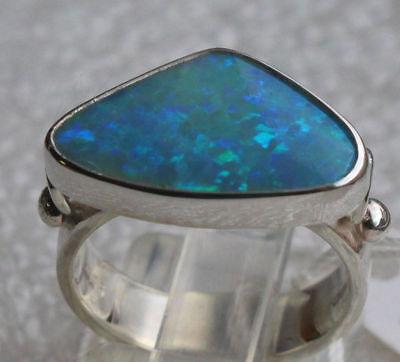 Coober Pedy Opal 2.5 Karat 950er Silberring Größe 16,2 mm ()