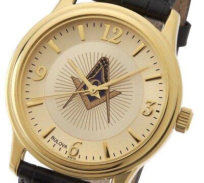 Blue Lodge Masonic Watch (New Men's Gold Finished Bulova Masonic Blue Lodge Watch )