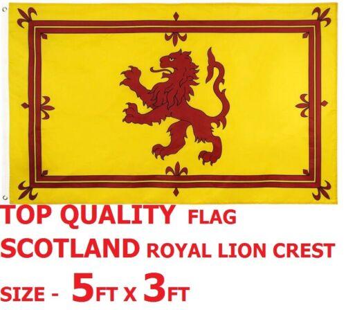 TOP QUALITY 5FT X 3FT FLAG SCOTLAND ROYAL LION CREST MAN CAVE GARAGE HANG FLY