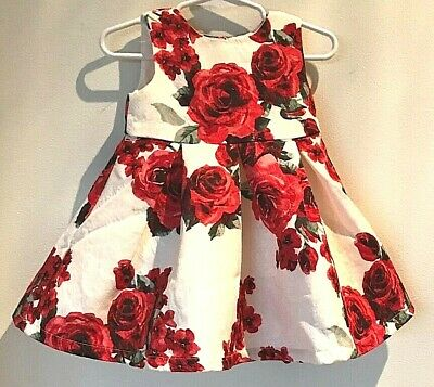 The Childrens Place Pearly Whites Red Rose Dress 12-18 mo. NWT