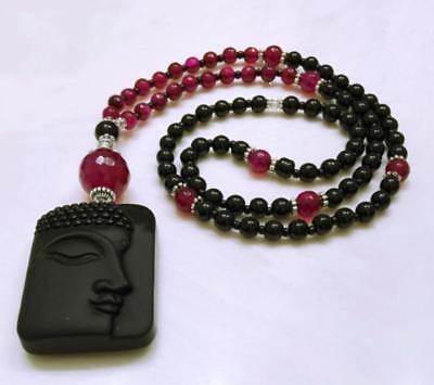 Buddha Face Pendant Obsidian Beads Necklace Gift Beautiful Men Chinese Unisex (Buddha Face Pendant)