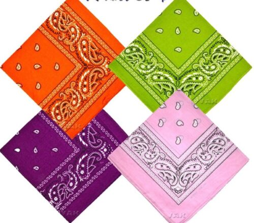 Pack Of 4 Paisley Design Bandanas Orange Green Purple Baby P