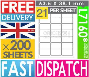 200-SHEETS-21-PER-SHEET-A4-SELF-ADHESIVE-PRINTER-ADDRESS-LABELS-L7160-J8160