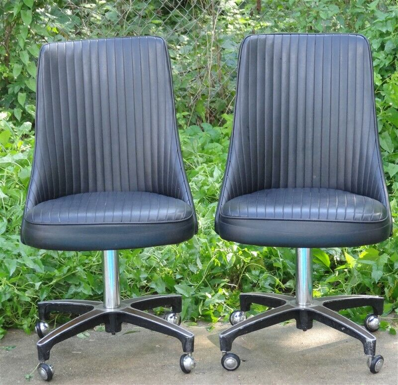 PAIR 1960s ChromCraft Dinette Set Black Vinyl Swivel Chairs