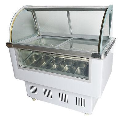 12 Pan Ice Cream Refrigeration Showcase Machine Ice Cream Display Case Us New