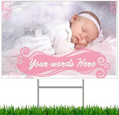 1 or 2 Personalized Yard LAWN SIGNS Sign CUSTOM  Baby Wedding  4 COLORS 2 Size - Baby Lawn Signs