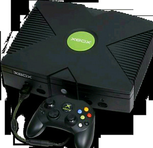 Xbox with games and remotes.