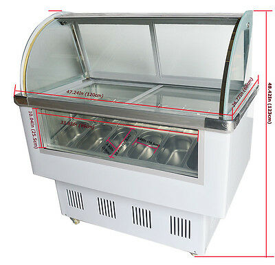 220v 12 Pan Hard Ice Cream Showcase Gelato Dipping Cabinet Freezer Display Case