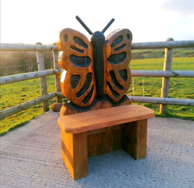 Chainsaw Carved Butterfly Bench/ Seat /Garden Sculpture With Delivery.