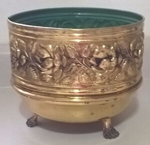 Vintage Embossed Brass Claw Footed Pot/Planter