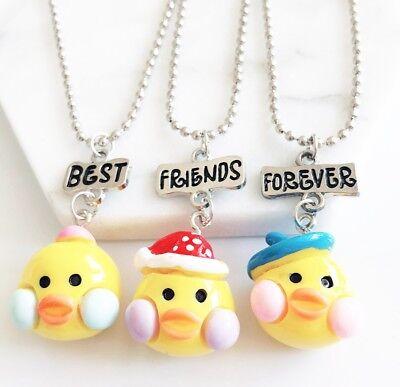 3PCS Kids Best Friends Forever Necklace Cute Duck Pendants Necklace For
