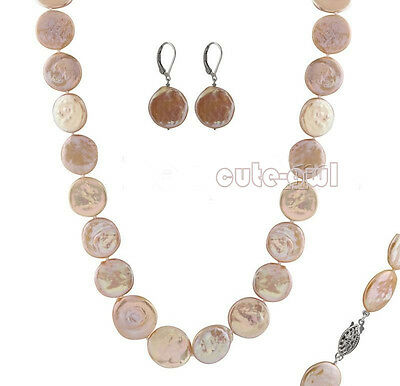 Genuine 13-14mm Natural Pink Coin Pearl Silver Hook Earrings & Necklace 18'' Set