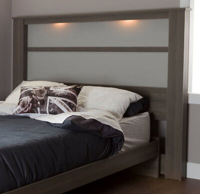 Panel Headboard With Lights Wooden King Size Bedroom Furniture Maple Gray ()