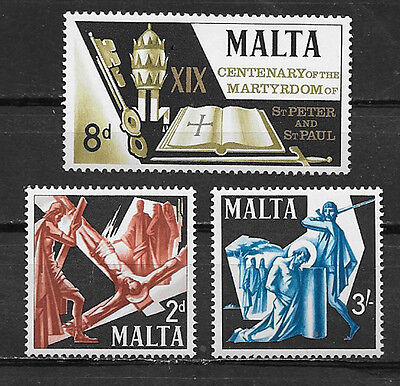 MALTA , ST. PETER & ST. PAUL , 1967 , SET OF 3 , PERF , MNH