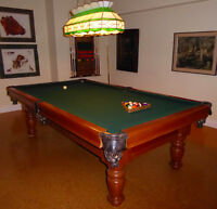 Pool Table with Tiffany light and wall rack