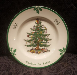 """SPODE Christmas Tree Pattern """"Cookies for Santa Plate"""""""