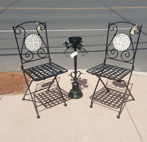 Folding Wrought Iron Bistro Chairs