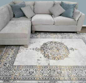New XXL 200x290cm vintage silver and gold area rug