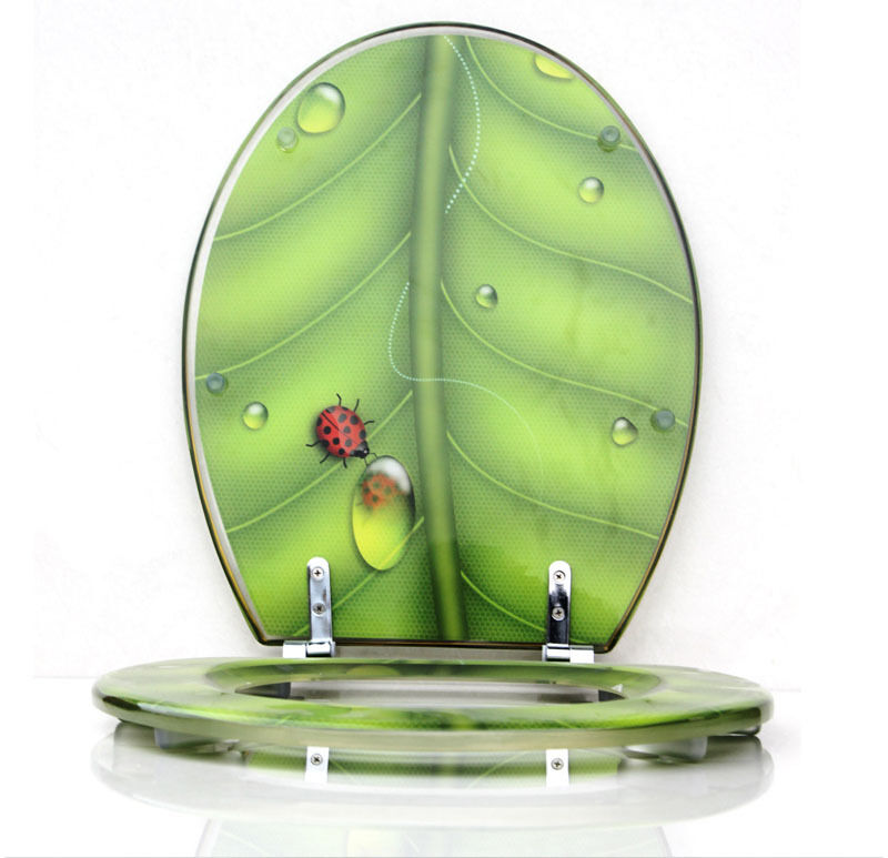 1 Set Green Leaf Bath Accessories Safety Resin Toilet Seat Nice Decoration