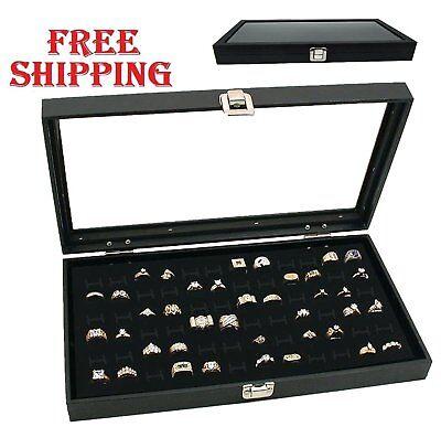 72 Slot Ring Display Organizer Jewelry Storage Box Case Tray Holder Glass Top Se