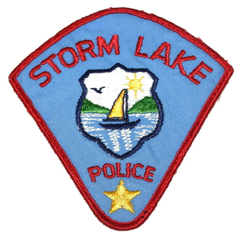 STORM LAKE IOWA IA Sheriff Police Patch VINTAGE OLD CHEESECLOTH USED ~
