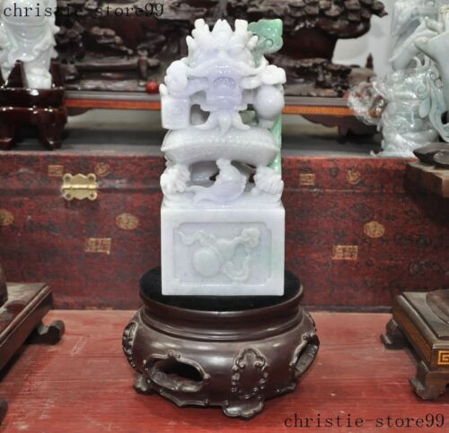 "8""China Natural Jadeite Emerald Jade Carved Long Dragon animal seal Stamp signet"