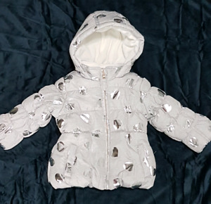 Infant girls puffer jacket with silver foil hearts 6-12months
