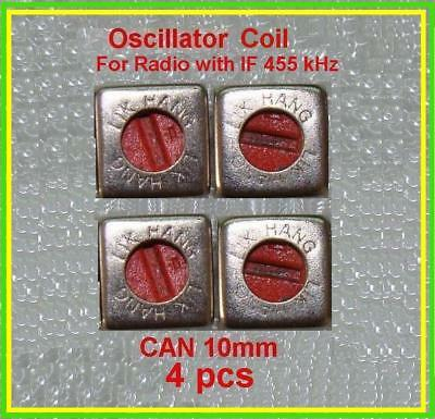 Radio Transistor Oscillator Coil Red If 455 Khz Inductor Can 10mm Lot 4 Pcs