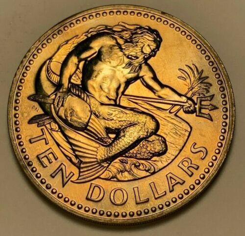 1979 BARBADOS TEN DOLLARS BU UNC NICE COLOR TONE !!!!!