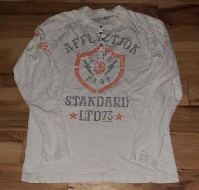 AFFLICTION Mens L/S T-shirt Pullover Henley Biker 2XL Seek & destroy Lost Souls