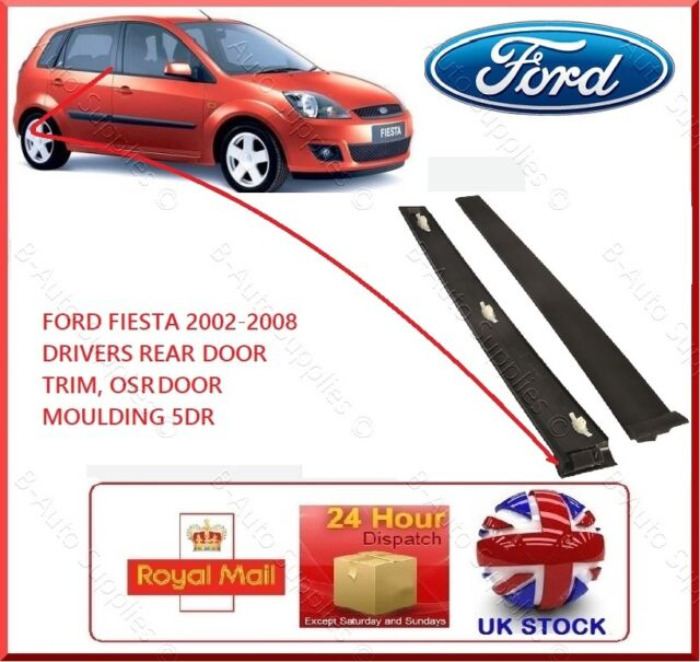 New FORD Fiesta 5 DR 2001-2008 MK6 Drivers Rear Door OSR Black Trim Window RH
