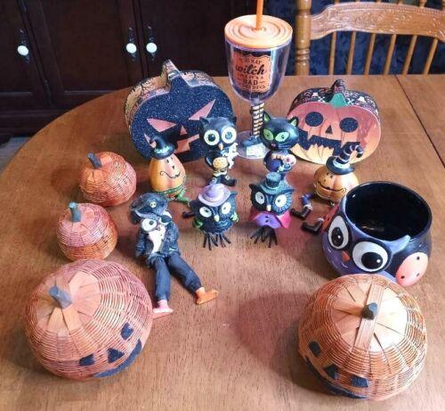 Mixed Lot Of Halloween Decorations Owls pumpkins