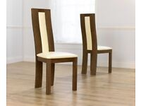 solid oak & leather dining chairs (x6) NEW