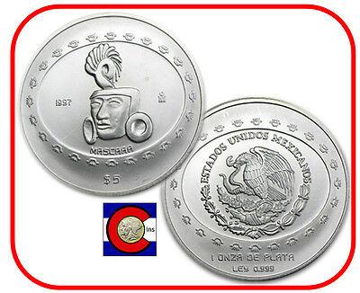 1997 Mascara (Mask) 5 Pesos 1oz  Silver Mexican Teotihuacan Series - Mascara Mask