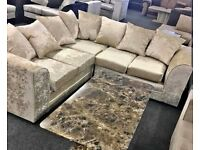 FACTORY-PACKED LIVERPOOL CRUSH VELVET CORNER SOFA AND 3+2 SOFA SET AVAILABLE