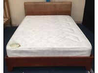 Pre Owned Leather & Wooden Mix Double Bed Frame & Mattress