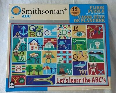 "Smithsonian ""Let's learn the ABC's Floor Puzzle 48 Jumbo Pieces New Free Ship"
