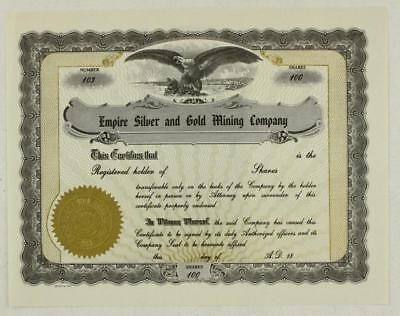 Vintage Paper Stock Certificate 100 Shares Empire Silver   Gold Mining Company