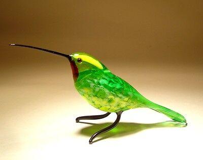 """Blown Glass """"Murano"""" Art Green & Yellow HUMMINGBIRD Bird Figurine w/ Red Throat"""