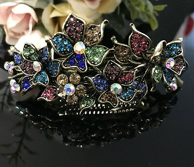 New Antique Gold Tone Flower Rhinestone Multi Color Hair Clip Barrette 9924 (Gold Tone Flower Clip)