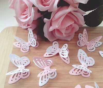 20x BABY SHOWER table decorations 3D paper butterflies pink and white - Pink And White Baby Shower