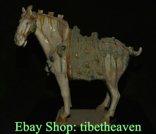 "15.2"" Old Chinese Tang Sancai Pottery Dynasty Tang War Horse Steed Statue"