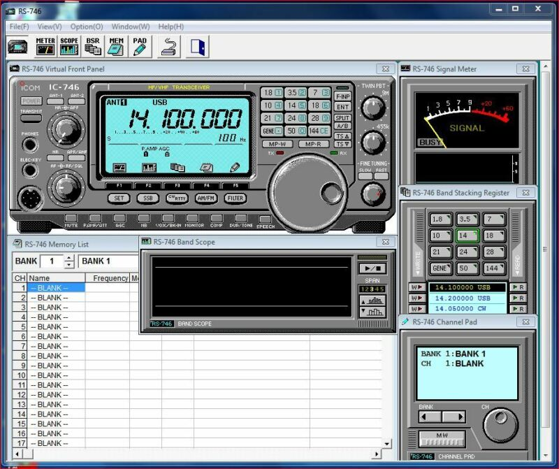RS-746 Remote Control Ham Radio Software for IC-746 v1 CD ONLY (NO CABLE) KJ4IYE