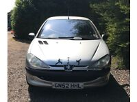 Peugeot 206 LX for sale, Long MOT, service history, drives perfect.