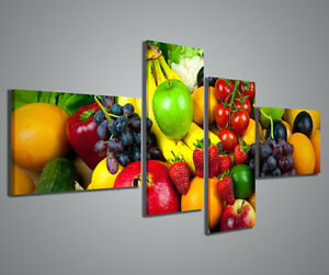 Quadro moderno frutta e verdura quadri moderni 160x70 cm for Stampe d arredo