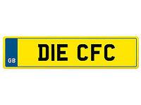 Private Registration Plate **DIE CFC** Cardiff, Chelsea, Carlisle, Celtic
