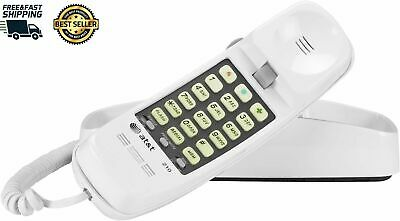 AT&T Telephone Push Button Corded Desk Wall Mount Home Trimline Phone White New
