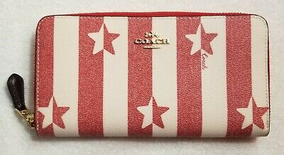 Coach Women's Canvas Stripe Star Print Accordion Zip Wallet in chalk/red nwt