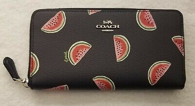 Coach Women's Canvas Watermelon Print Accordion Zip Wallet in navy red multi nwt